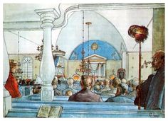 At Church - Carl Larsson
