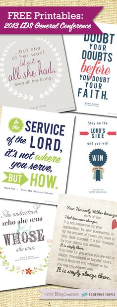 FREE LDS General Conference Printables by BitsyCreations on Somewhat Simple