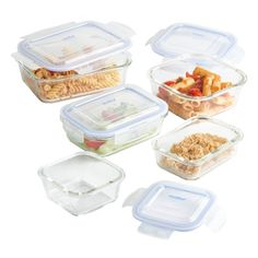 VonShef 5 Piece Glass Container Food Storage Set with Lids, Free 2 Year Warranty