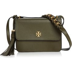 Tory Burch Brooke Leather Crossbody ($530) ❤ liked on Polyvore featuring bags, handbags, shoulder bags, tory burch purse, genuine leather shoulder bag, leather shoulder bag, leather cross body handbags and tory burch handbags