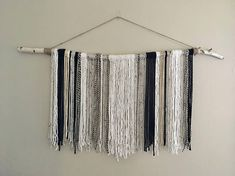 Large yarn tapestry wall hanging tapestry on white birch