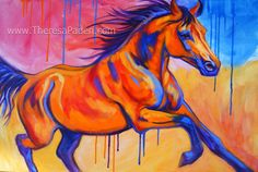 Paintings by Theresa Paden: Large Colorful Horse Art, Original ...