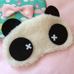 Sleeping Eye Mask - Kawaii Fuzzy Panda by cupOcoco on Etsy