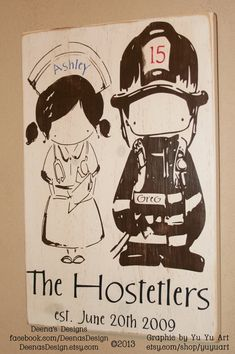 Firefighter Sign, Firefighter Decor, Distressed Wall Decor, Custom Wood Sign - Firefighter/Nurse Couple by Yu Yu Art on Etsy, $47.00