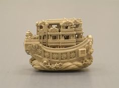 Netsuke Pleasure Boat  early to mid 19th century  ivory