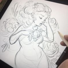 """What do you think about this rough sketch for my #floralfeb """"Peony"""" prompt? I see peonies as full bodied flowers and wanted to draw a curvy woman #lyfeillustration #peony #curves #procreate #sketch"""