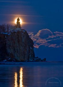 Full moon rising.....Split Rock Lighthouse on the northern shore of Lake Superior