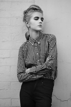 Satin Shirt, Gisele, Button Down Collar, Polka Dot Top, Gingham, Style Inspiration, Black And White, Portrait, Lady