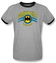 Batman And Robin Ringer T-shirt  - Gotham City Basketball Adult Heather/Black