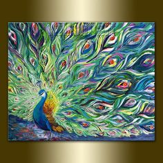 Original Peacock Oil Painting Textured Palette Knife Contemporary Modern Animal Art 24X30 by Willson Lau: #OilPaintingPeacock