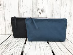 Large Waxed Canvas Pouch Zipper Toiletry Bag Vegan Make Up