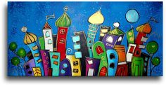 Acrylic painting on canvas, fantasy skyline, nocturnal cityscape Acrylic Painting Lessons, Silk Painting, Acrylic Painting Canvas, Funny Paintings, Easy Paintings, Love Bears All Things, Friedensreich Hundertwasser, Art Auction, Blue Moon