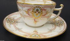 Hand Painted Antique KPM Porcelain Demitasse Cup & Saucer Early 1900s