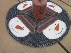 Snowman wool penny rug by granniesraggedybags on Etsy