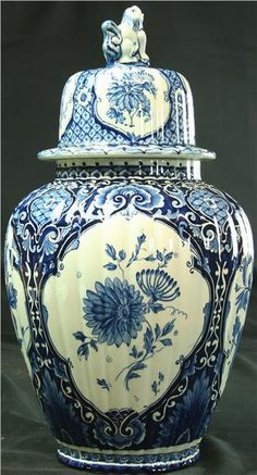 1900 Delft Vase Jar Blue White/Cream Floral by euroluxantiques, $399.00