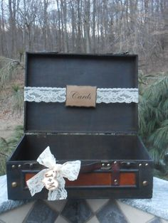 Suitcase Wedding Card Box / Wooden Suitcase Wedding Cardholder / Rustic Vintage Wedding on Etsy, $58.56 AUD
