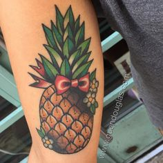 """guendouglas: """" Got to see this one all healed from my last stockholm visit in February. Inner arm pineapple. @evileyetattoo #tattoo #tattoos @magicmoon_tattoo_supply #magicmoonneedles..."""