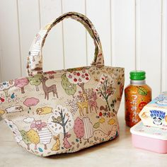 Kawaii Japanese Kokka Fabric Insulated Lunch Bag by cottonblue,  #lunchbag #insulated #lunchtote #tote #bag