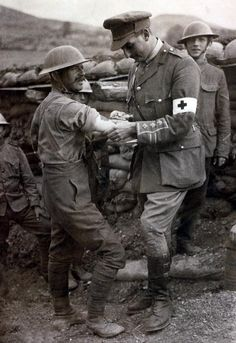 World War I British Military British soldier receives his innoculation from a military doctor at Salonika Greece