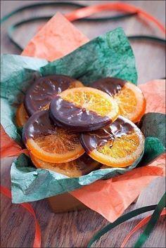 Карамелизированные апельсины в шоколаде