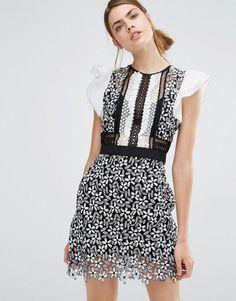 b9d32c782b48 Self Portrait Frill Sleeved Daisy Guipure Mini Dress Tall Dresses, Event  Dresses, Little Dresses