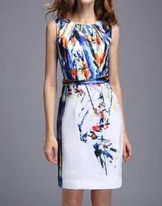 Elegant Scoop Collar Colored Printing Sleeveless Slimming Women's Dress, AS THE PICTURE, S in Bodycon Dresses | DressLily.com