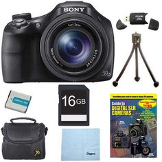 Sony DSC-HX400V/B DSCHX400VB DSCHX400V HX400 20 MP Digital Camera Bundle with 16GB High Speed Card, Spare Battery, Padded Case, DVD Photography Tutorial, SD Card Reader, Table top Tripod, LCD Screen Protectors, and Lens Cleaning Cloth. 50x the Magnificence Closeness is nothing without clarity. Enjoy 50x optical zooming, silky-smooth Full HD video and razor-sharp, 20.4MP pics - perfect for sporting events and all your adventures. Looking to capture the mood of a shot without the harshness…