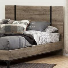 With its riveted metal strapping and weathered oak-finished slats, the South Shore Valet Full/Queen Headboard makes the perfect focal point for. Decor, Headboards For Beds, Industrial Furniture, Weathered Oak, Headboard Styles, Bedroom Furniture, Furniture Inspiration, Headboard, Vintage Industrial Furniture
