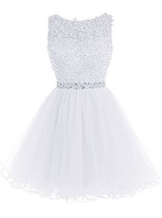 Tideclothes Short Beaded Prom Dress Tulle Applique Evenin...