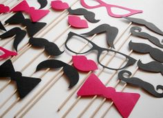 12 DIY Photo Booth Props Mustache on a Stick -  Wedding Party Mustache  Props - Set of 12 via Etsy