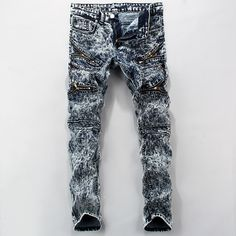 (39.07$)  Buy here - http://aij9y.worlditems.win/all/product.php?id=32801663747 - European American Style Ankle Zipper Balmai Jeans Men Luxury Men's Casual Denim Trousers Fear Of God Slim Bluezipper Jeans Men