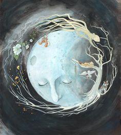 Love this, mostly because it contains three elements that I like: the moon, a tree, and an octopus/squid. On second look, not quite sure about the face of the moon, the nose is a little too eccentric for me. Moon Art Inspired by the Cycle of Life - Print by Heather Elder. $45.00, via Etsy.