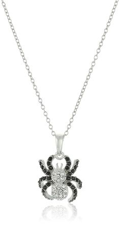 Rhodium Plated Sterling Silver Ruthenium Black and White Swarovski Crystal Spider Pendant Necklace, 18' *** You can get additional details at the image link. (This is an Amazon Affiliate link and I receive a commission for the sales)