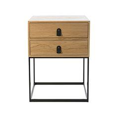 Milo 2 Drawer Side Table Natural & Black - Home Republic