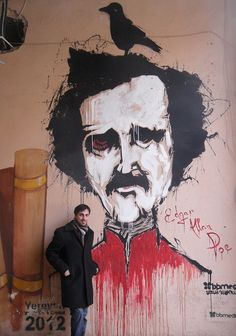 Tomorrow is Edgar Allan Poe's 204th birthday- awesome mural of him in Yerevan, Armenia - Imgur