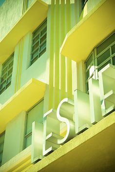 Well. I just love this because Leslie is my name and yellow is my favorite color. (Art Deco Miami Beach photography by Adam Sherbell)