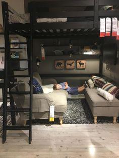 The kid loves Ikea. Bedroom Setup, Room Design Bedroom, Small Room Bedroom, Modern Bedroom, Bedroom Decor, Small House Interior Design, Tiny House Design, Small Bedroom Inspiration, Loft Bed Plans