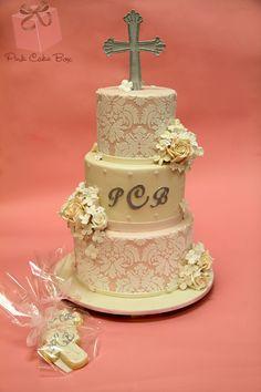 Rose & Hydrangea Baptism Cake from Pink Cake Box fancyyy