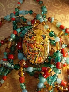 Ancient Egypt: Make a piece of jewelry inspired by Ancient Egypt Egypt Jewelry, Jewelry Art, Jewlery, Egyptian Drawings, Turquoise Glass, Turquoise Jewelry, Beads And Wire, Ancient Civilizations, Glass Necklace