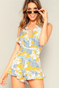 New 2019 Malkstore Summer Boho Crisscross Open Back Jungle Leaf Print Ruffle Rompers Womens Playsuit Summer Sleeveless Casual Sexy Beach Playsuits Printed Trendy fashionable Spring Beach Hot Sexy Short Jumpsuit Printed Outfitoftheday Beach Playsuit, Boho Romper, Ruffle Romper, Floral Romper, Romper Outfit, Summer Romper, Summer Wear, Summer Girls, Boho Outfits