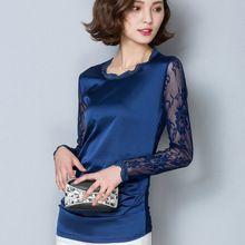 2016 Осень с длинным рукавом атласные рубашки женщины сетки рубашка женщины кружева блузка леди атласная блузка женский сетки атласная блузка топы женщины(China (Mainland))