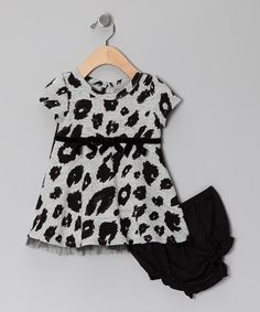 Take a look at this Black & Gray Spot Dress & Diaper Cover - Infant & Toddler by Absorba on #zulily today!
