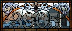 Stained Glass, Denver - Commercial Art Glass: Fabricators of fine leaded art glass since 1981. Transom address numbers.