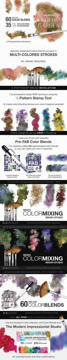 Photoshop Brushes & Youtube Tutorial Series: Watercolor and floral brushes Color mixing and watercolor blends! Perfect for illustrations, graphic design, printables and designs for sale!