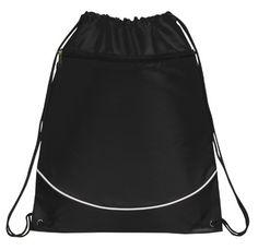 Deluxe Cinch Drawstring Two Tone Backpack Bookpack Bag, Black