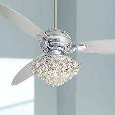 "60"" Spyder™ Polished Chrome Crystal Ceiling Fan"