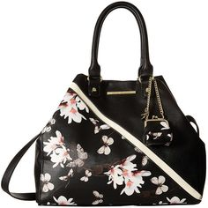 Steve Madden Blovely (Black Butterfly/Black/Bone) Satchel Handbags ($50) ❤ liked on Polyvore featuring bags, handbags, black, change purse, coin pouch, steve madden satchel, butterfly handbags and butterfly purse
