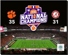 Clemson Tigers 2016 National Champions 16 x 20 (4) Photos on Stretched Canvas