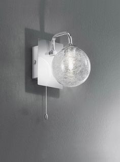 FL2313 1 Single Bathroom Wall Light Chrome And Glass Finish Fitting With
