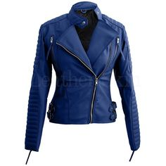 Women Blue Brando Faux Leather Jacket ($139) ❤ liked on Polyvore featuring outerwear, jackets, faux-leather jackets, imitation leather jacket, leather look jackets, vegan leather jacket and vegan jackets